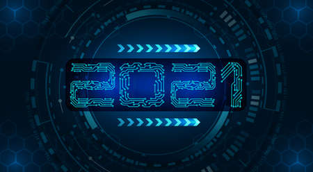 New Year 2021. Banner inscription, circuit board on the background of HUD technology. illustration Imagens