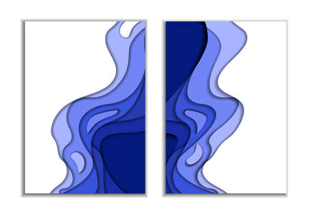 Two covers. Waves from blue 3d paper. Design layout for presentations banners, flyers, posters and invitations. illustration