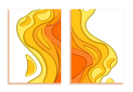Book covers. Waves from orange yellow 3d paper. Design layout in autumn colors for presentations of banners, flyers, posters and invitations. illustration Imagens