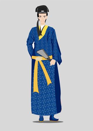 El antiguo erudito chino Ilustración de vector