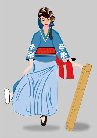 traditional Ddancing girl Illustration