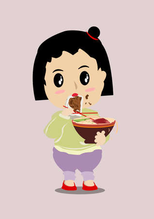 Cute cartoon girls in China are eating noodles and meaty buns