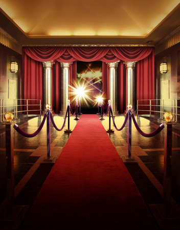 red carpet entrance to entertainment theater