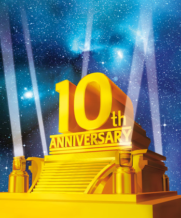 10: golden 10 years anniversary on a platform against galaxy