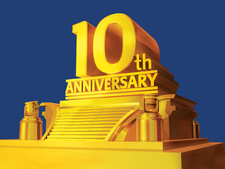 golden 10th anniversary on a platform photo