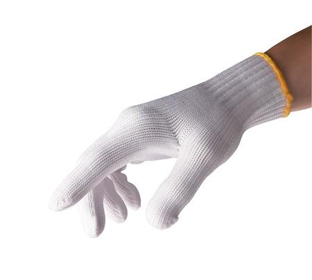 utiles de aseo personal: guantes de nylon en el fondo blanco aislado
