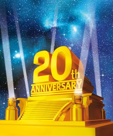 Golden 20 years anniversary against galaxy Banco de Imagens