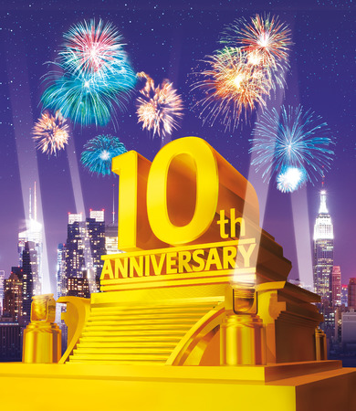 10 years: Golden 10 years anniversary against city skyline