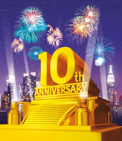 Złota 10 lat rocznica przeciwko panoramę miasta