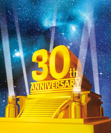anniversary party: Golden 30 years anniversary against galaxy