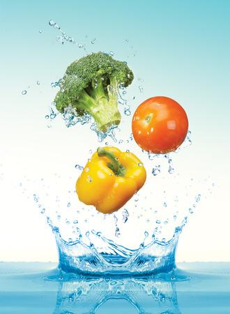 Vegetables with splashing water