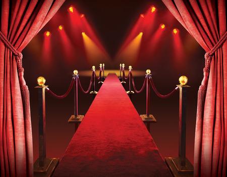 レッド カーペットの入り口と劇場ライトの背景