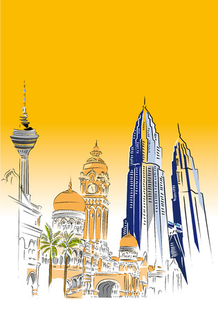 monorail: Kuala lumpur city skyline and merdeka square