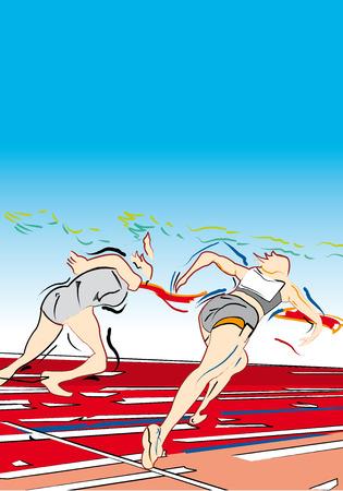 atleta corriendo: Atleta corriendo en la pista deportiva Vectores