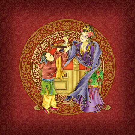 Chinese kunst van het respect voor de ouders begrip Stockfoto