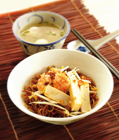 dry fish: Dry fish ball noodle Stock Photo