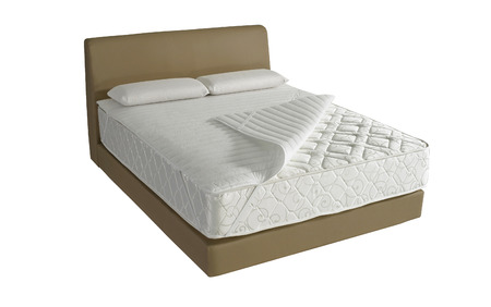 Modern platform bed with mattress and pillow Stockfoto