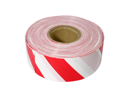affixed: Red and white barrier tape