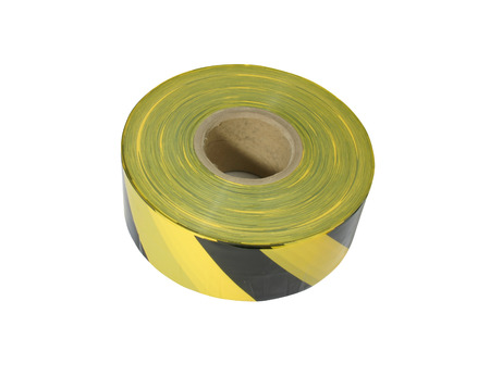 affixed: Yellow and black barrier tape