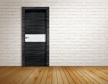 out of doors: Brick room with modern door