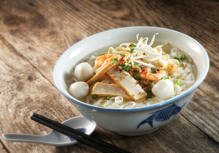Fish ball noodle soup Stock Photo