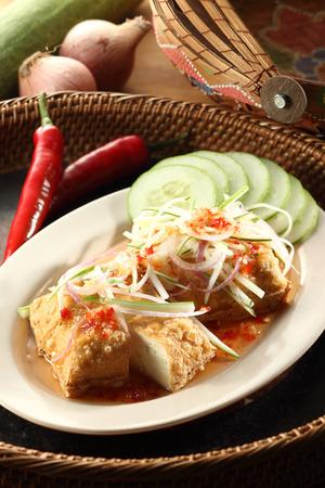 bean curd: Deep fried bean curd with thai sauce Stock Photo