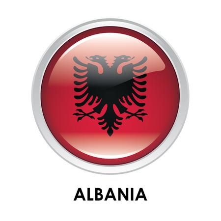 albania: Round flag of Albania Stock Photo
