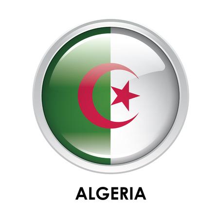 algeria: Round flag of Algeria Stock Photo
