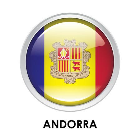 andorra: Round flag of Andorra Stock Photo