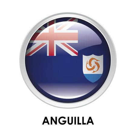 anguilla: Round flag of Anguilla Stock Photo