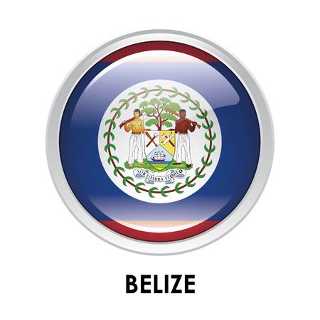 belize: Round flag of Belize Stock Photo