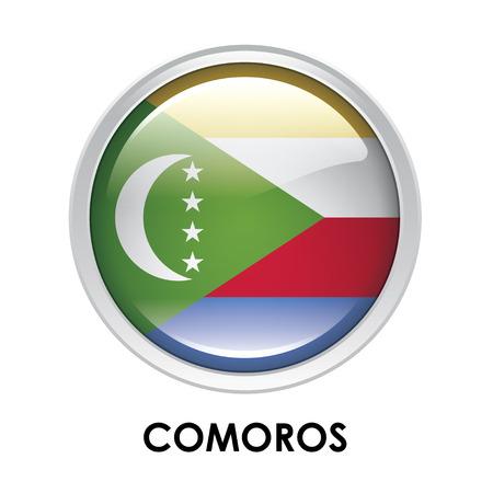 comoros: Round flag of Comoros Stock Photo