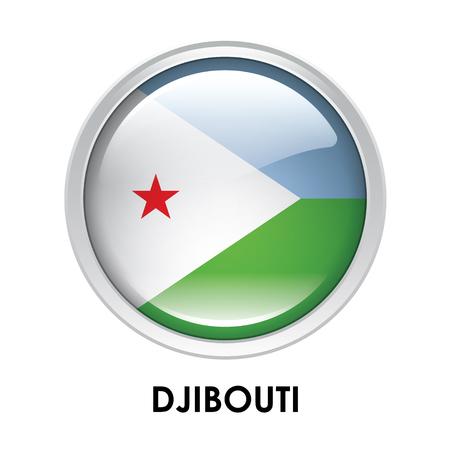 djibouti: Round flag of Djibouti Stock Photo