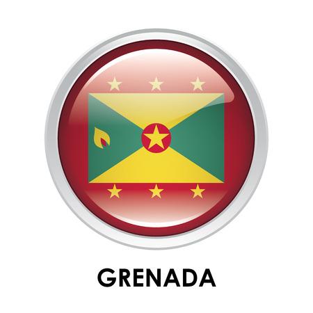 grenada: Round flag of Grenada Stock Photo