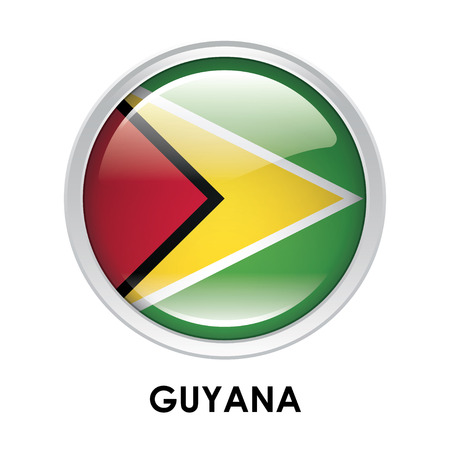 guyana: Round flag of Guyana Stock Photo