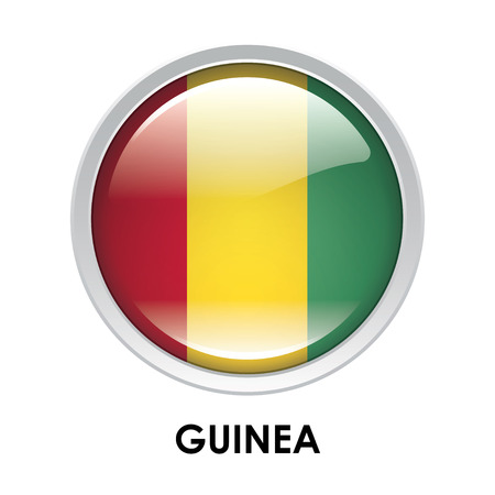 guinea: Round flag of Guinea Stock Photo
