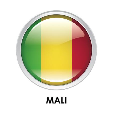 mali: Round flag of Mali Stock Photo