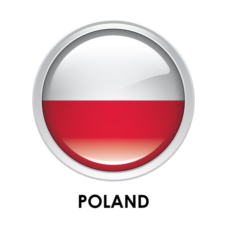 poland flag: Round flag of Poland Stock Photo