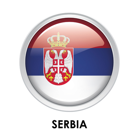 serbia: Round flag of Serbia Stock Photo