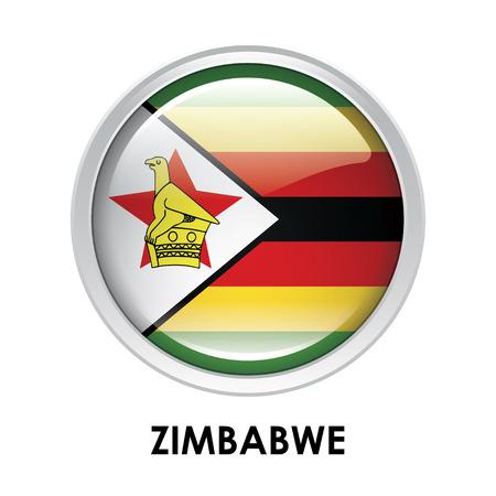 zimbabwe: La bandera redonda de Zimbabwe Foto de archivo
