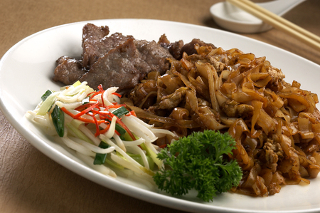 stir fried: Stir fried beef noodle
