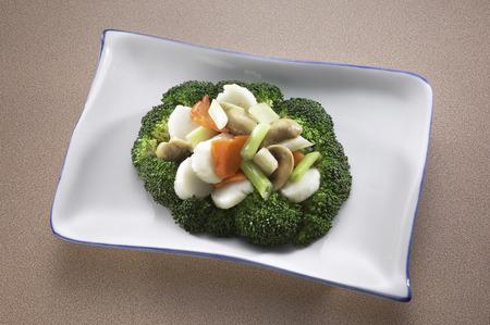 scallops: Sauteed vegetables scallops Stock Photo