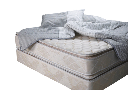 Bed mattress with pillow and blanket
