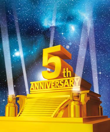 Golden 5th anniversary on a platform