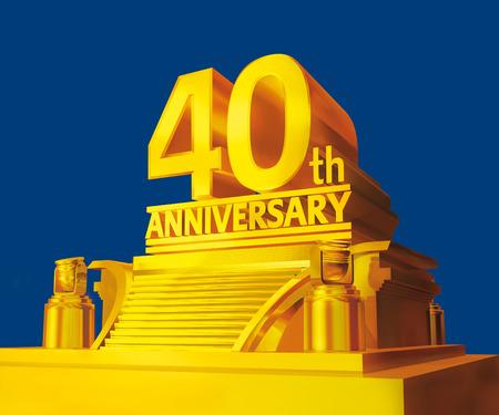 anniversaire: Or 40e anniversaire sur une plate-forme