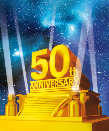 Golden 50th anniversary on a platform