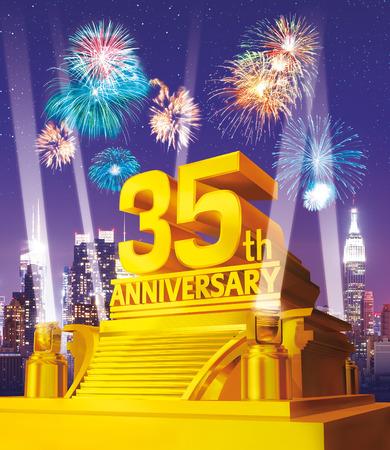 35th: Golden 35th anniversary against city skyline