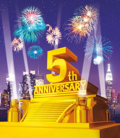 Golden 5th anniversary against city skyline Stock Photo