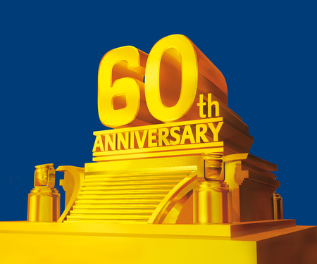 sixty: Golden 60th anniversary Stock Photo