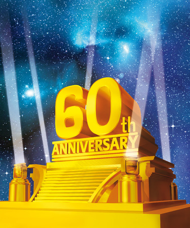 Golden 60th anniversary Stock Photo